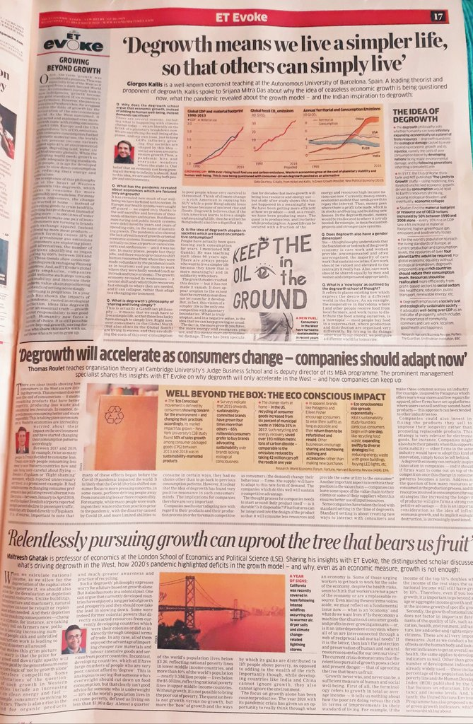 And today's #ETEvoke explores #degrowth in the West - what's driving Western consumers to recycle & reuse? How can companies adapt - and what is the colonial history to degrowth? The best economists decode degrowth & tell us why India should watch this trend!