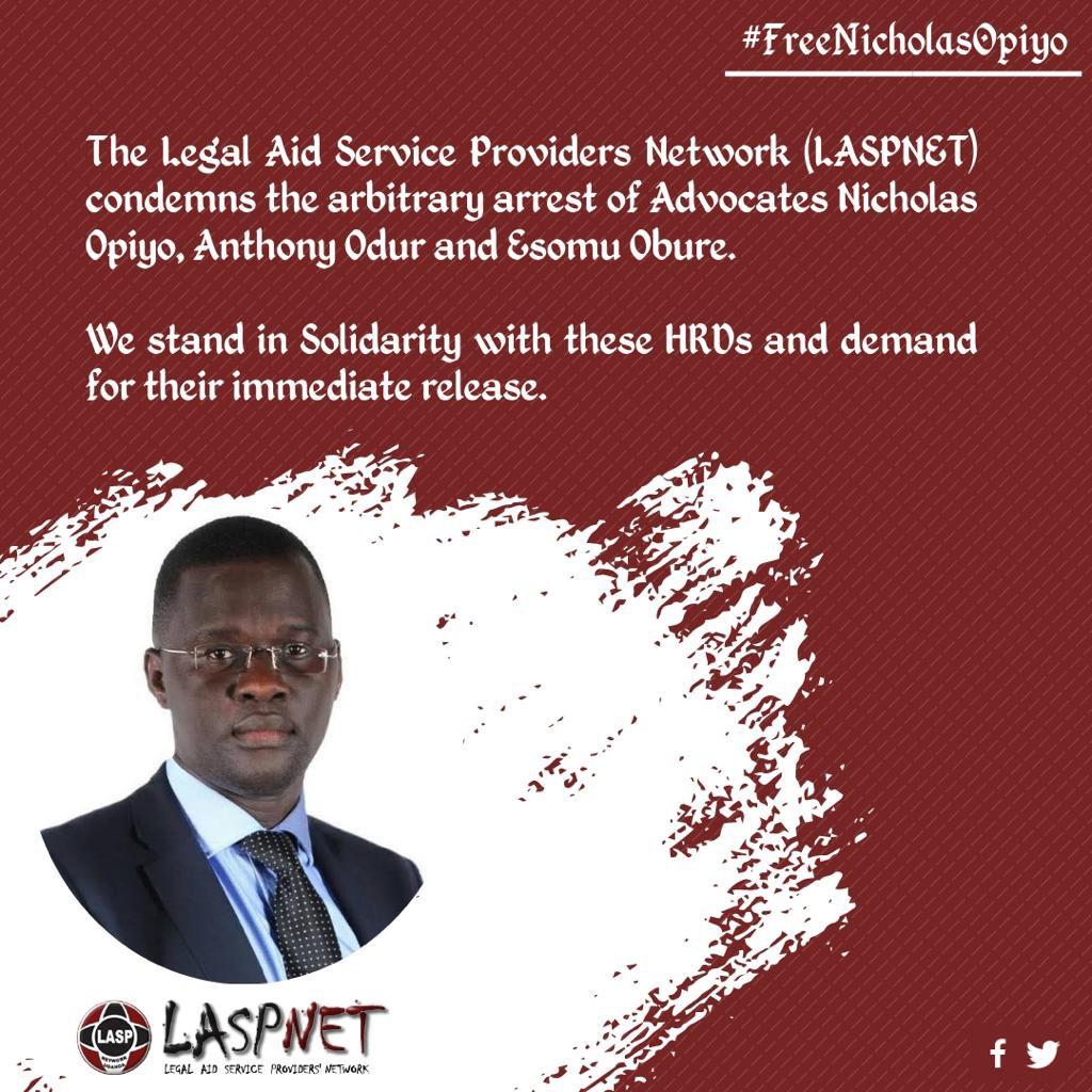 "Dr Busingye Kabumba on Twitter: ""Free Nicholas Opiyo, Odur Anthony, Esomu  Obure and Herbert Dakasi. #ForWhomTheBellTolls… """