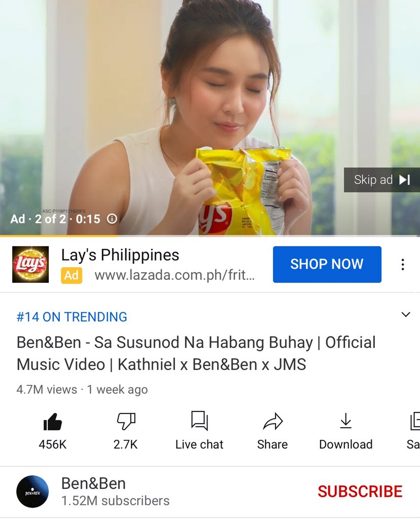 Wow! Kathryn's Lays ad in the SSNHB MV (Ain't nobody skipping the ad) Thank you so much,  @LaysPhilippines for trusting @bernardokath and looking forward for Daniel's Ad too! Much love and more power 💗#kathniellaysonholidays