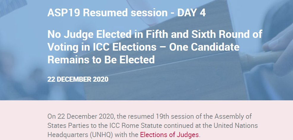"#ASP19 Resumed session continues today in New York, 5th & final day there!  Catch up with ASP19 Resume session Day 4 ""No Judge Elected in Fifth and Sixth Round of Voting in ICC Elections – One Candidate Remains to Be Elected""  👉  #NGOvoices #ElectTheBest"