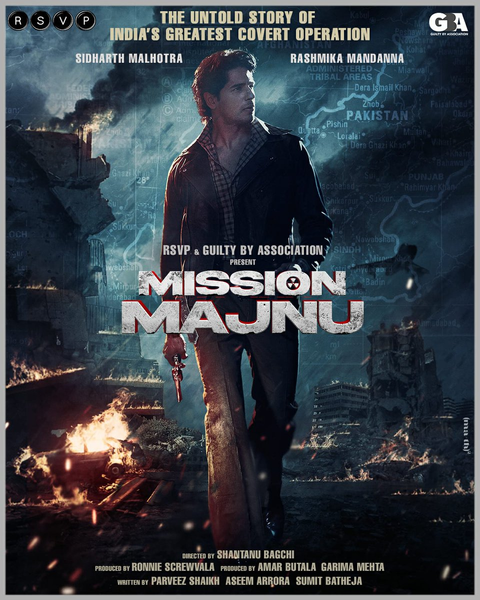 @RSVPMovies & Guilty By Association to collaborate for an espionage thriller titled #MissionMajnu starring @SidMalhotra & @iamRashmika @RonnieScrewvala @amarbutala #GarimaMehta  @RSVPMovies @GBAMedia_Off #ShantanuBagchi @aseem_arora @Sumit_Batheja @pashanjal Here's First Look 👍