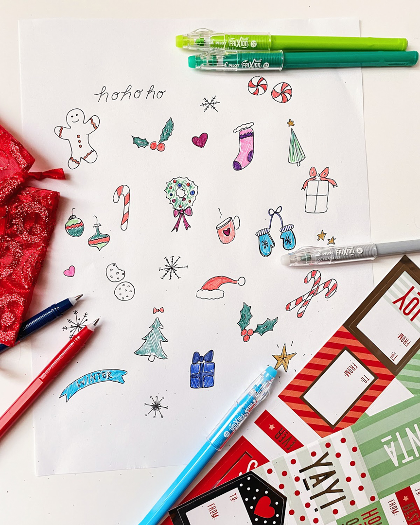 HO HO HOW about those FriXion ColorSticks for doodling? Only two more sleeps until Christmas! What'd you ask Santa for?🎄 #PowerToThePen