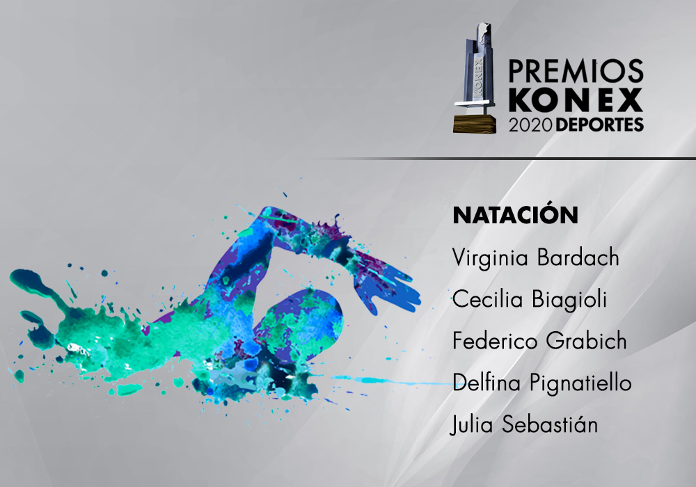 En la disciplina #Natación, los mejores de la década en la #Argentina ganadores del #PremioKonex son:  🔹@vickybardach 🔹Cecilia Biagioli 🔹@GrabichFederico 🔹@DNPignatiello 🔹Julia Sebastian  Acá el listado completo de premiados👇