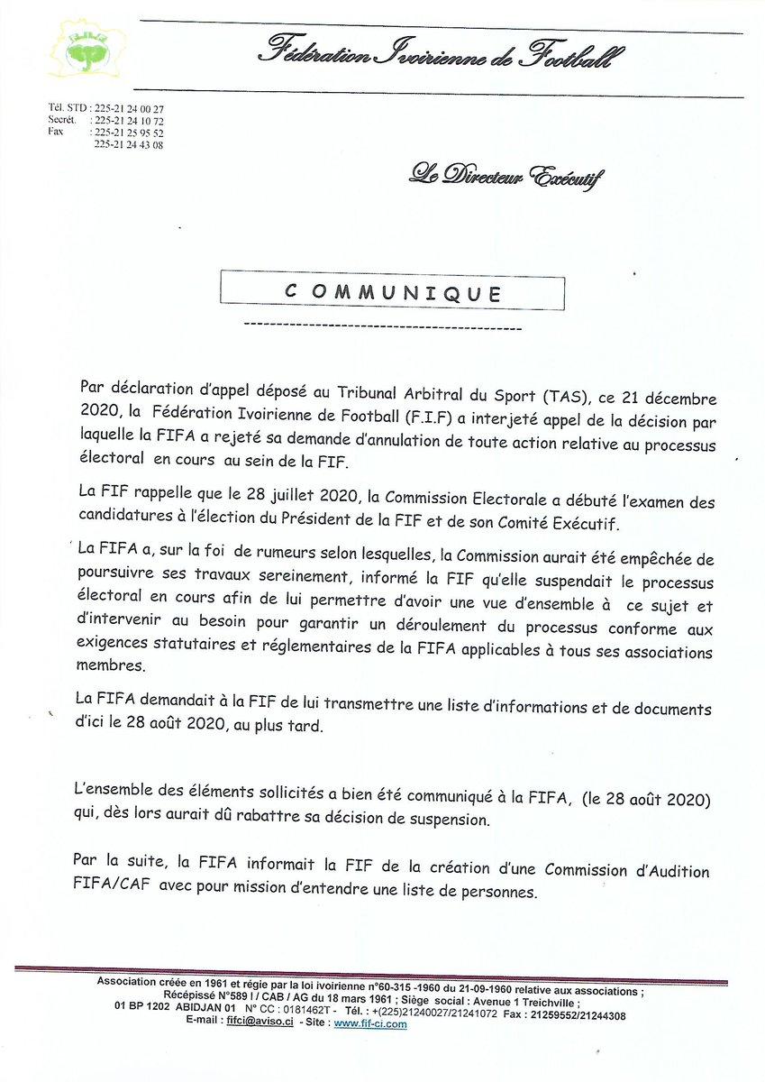 Suspension du processus électoral: La FIF saisit le TAS électoral-la-fif-saisit-le-tas via @#