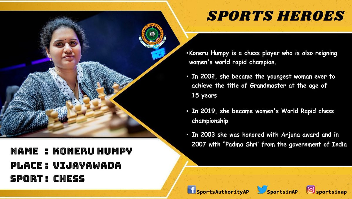 Here we bring you our thriving sports achievers prospering our State.  #Sports #SportsInAP #SAAP #SPORTSHEROES #sports #chess #koneruhumpy