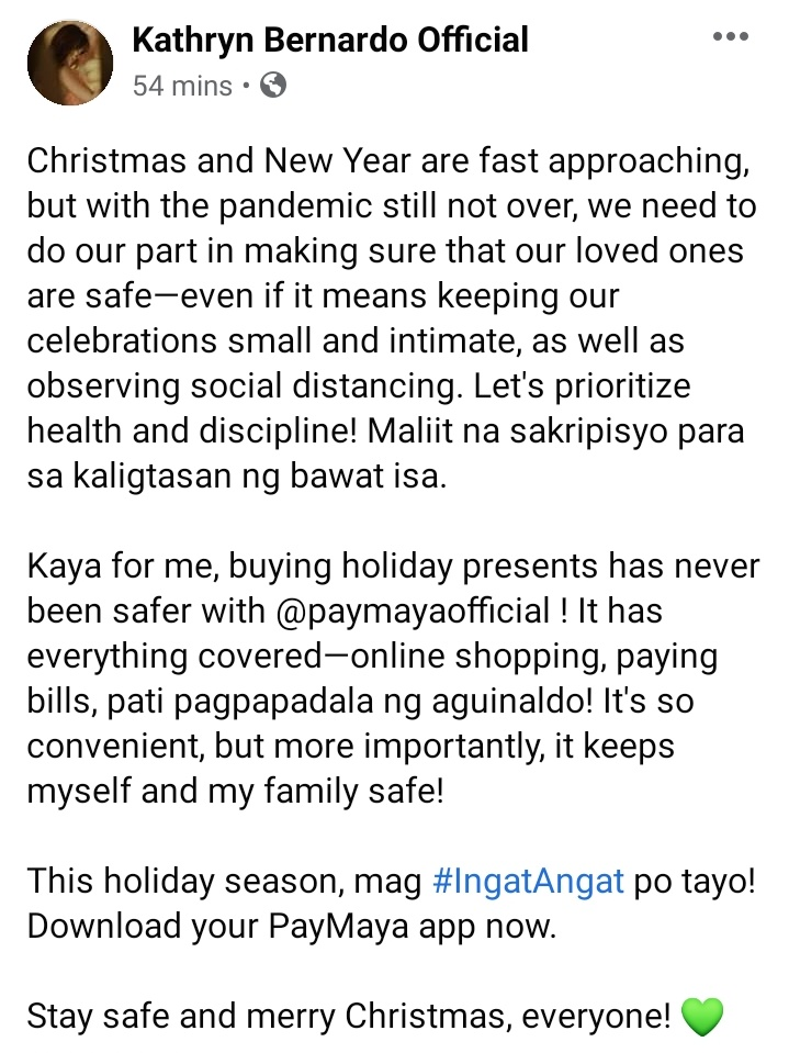 """""""Christmas and New Year are fast approaching, but with the pandemic still not over, we need to do our part in making sure that our loved ones are safe— 📎 """"   FB: 📎  #DontPayCashPayMaya  #PayMayaKathNiel  #KathrynBernardo"""
