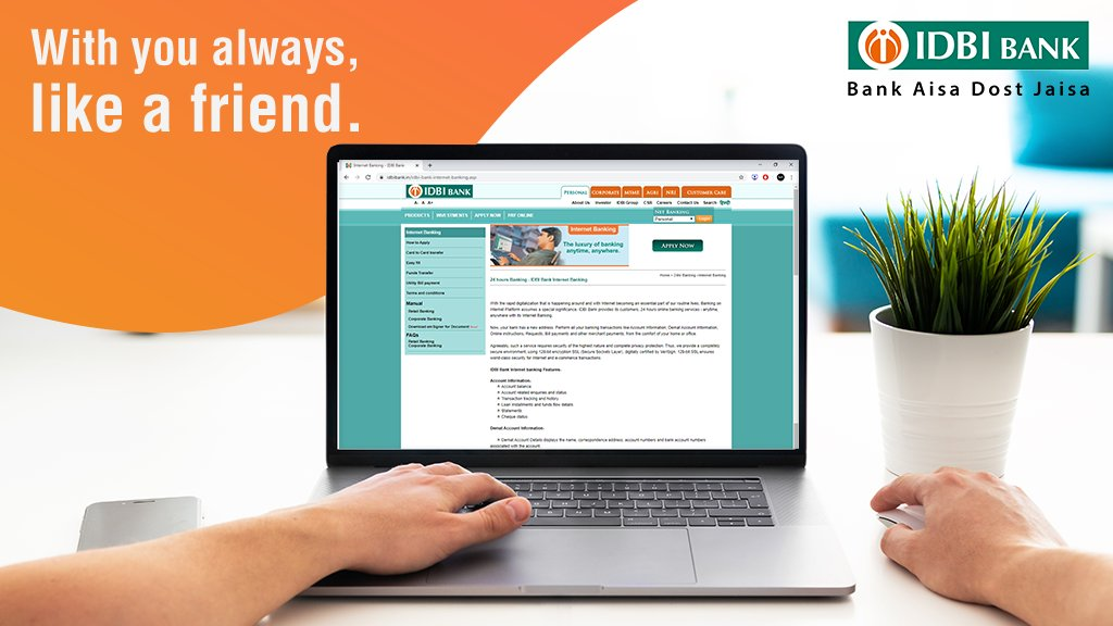 Like a friend who is always with you, IDBI Bank internet banking helps you complete banking work even in these times of lockdown. #BankFromHome