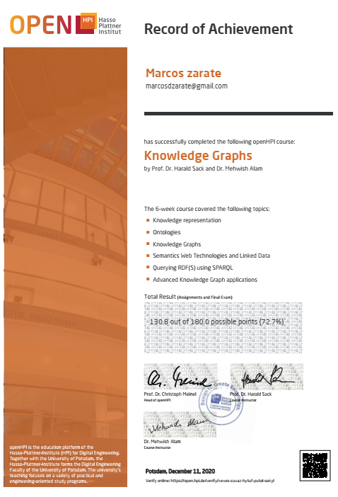 I have finished the #openHPI course Knowledge Graphs  https://t.co/ly5lo8GpKo Congratulations to the entire team for their enormous work! 👏 https://t.co/l4pP4rCLtl
