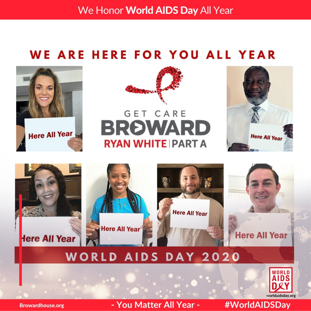 Broward #RyanWhite | Part A program wants to remind you, they are here for you all year! Together, we will continue to improve care, support prevention and be a voice for those who need us! #EndHIV #EndHIVstigma #WorldAIDSDay #WAD2020 #YouMatterAllYear #BrowardCounty