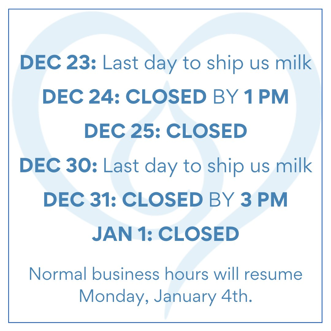 Today is the last day to ship us milk before our holiday hours begin. If you have any questions, message us or give us a call at 212-956-6455