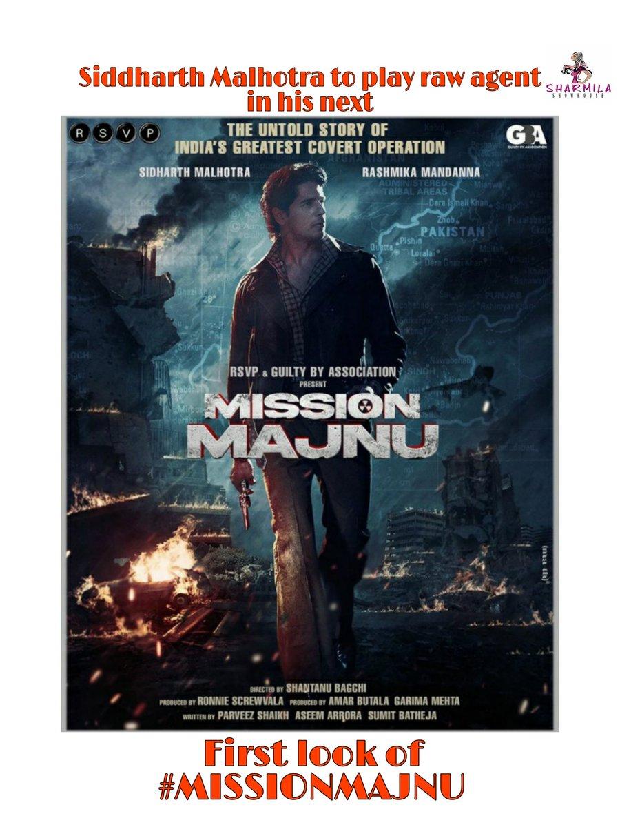 The first look of #missionmajnu is here!!!  #siddharthmalhotra is looking stunning in the poster😍  @SidMalhotra @rashmika_mandan #ronniescrewvala @man_on_ledge @garima_mehta612 @RSVPMovies @GBAMedia_Off #ShantanuBagchi @aseemarrora @Sumit_Batheja #parveesshaikh @pashanjal