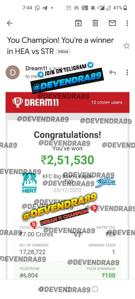 Huge Winning ✅ in #Dream11 @Dream11  😘🥰 #Fantasy #football #Cricket #AUSvsIND #BBL  #NZvWI #FantasyCricket #Dream11  Join my telegram 👇 Group ❤️👇👇 Today my winnings 🥳👇  If Link not work than search on telegram 👉👉 Devendra89 and join my Group.