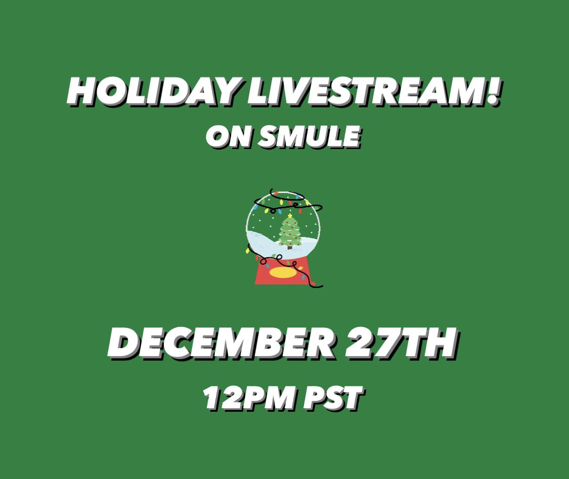 test Twitter Media - Ending the year taking song requests and singing your favorites with @smule! Join me on Smule's Instagram Live on December 27th at 12PM PST! Happy Holidays! 🎄 See you soon! #Smule https://t.co/EWfMuJoNTX