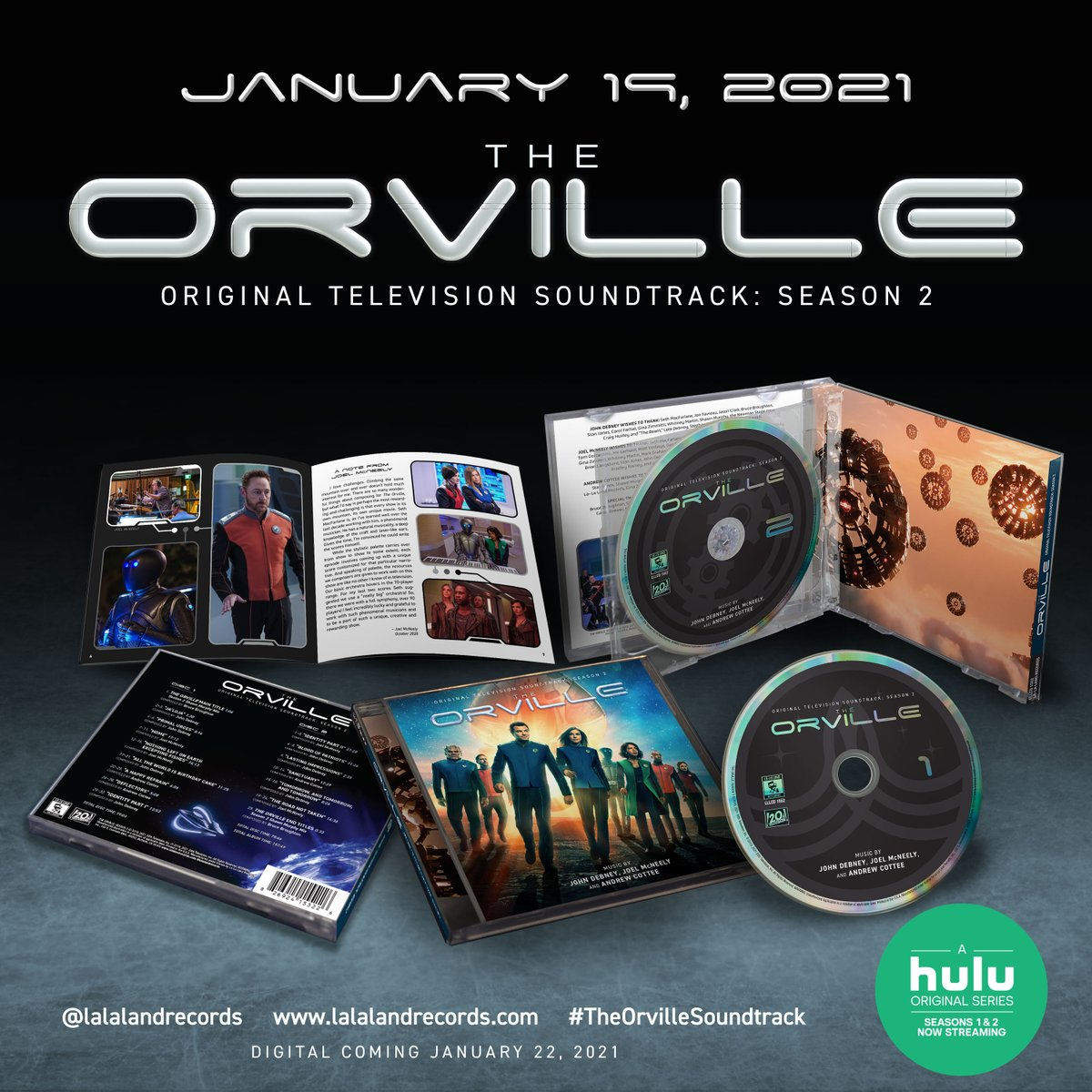Coming Jan 19! @TheOrville Season 2 #Soundtrack 2-CD set by @JohnDebney @joelsephmc @cotteemusic   Pre-order now:  #TheOrvilleSoundtrack @SethMacFarlane @hulu
