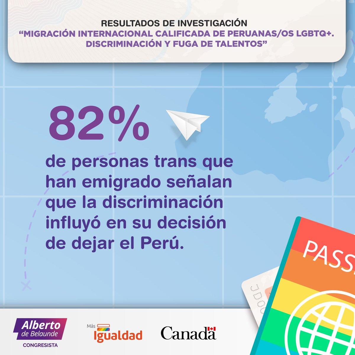 """Mira aquí el resumen de """"Migración Internacional Calificada de Peruanas/os LGBTQ"""", estudio que visibiliza que la falta de reconocimiento de derechos tienen una enorme influencia en la decisión de salir del Perú 👉🏾 https://t.co/RKKbqZSKKq https://t.co/B6VGI09zHA"""