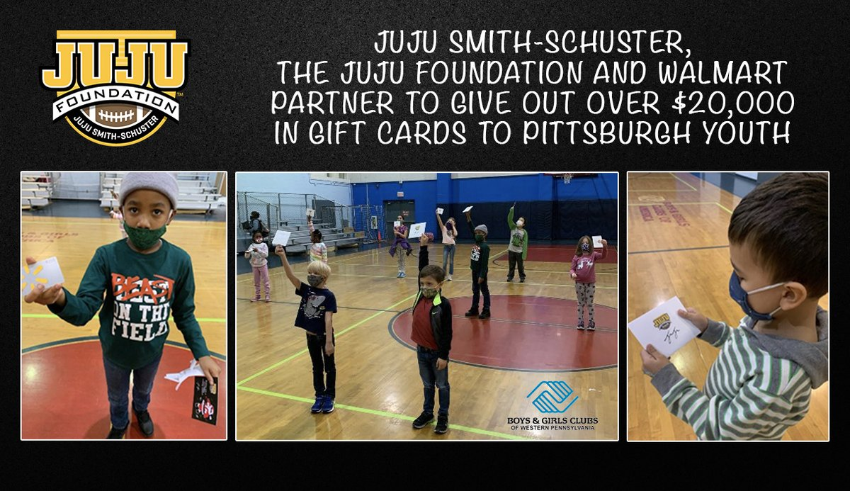 JuJu Smith-Schuster (@TeamJuJu) and the JuJu Foundation partner with @Walmart to provide over $20,000 in gift cards to over 200 Pittsburgh kids for the Holidays...  VIEW RELEASE HERE: