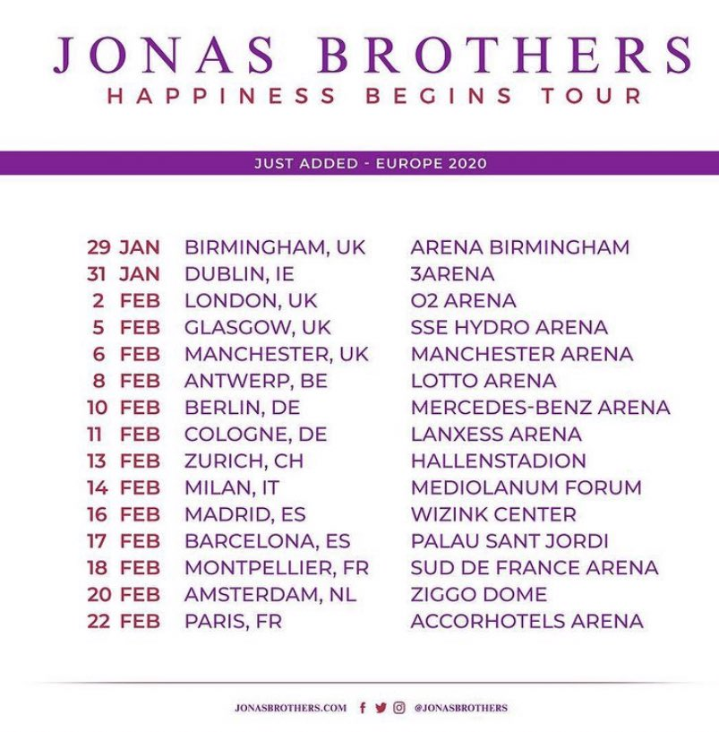 #February #Crazy2020 @jonasbrothers The European leg of the #HappinessBeginsTour  began end of January