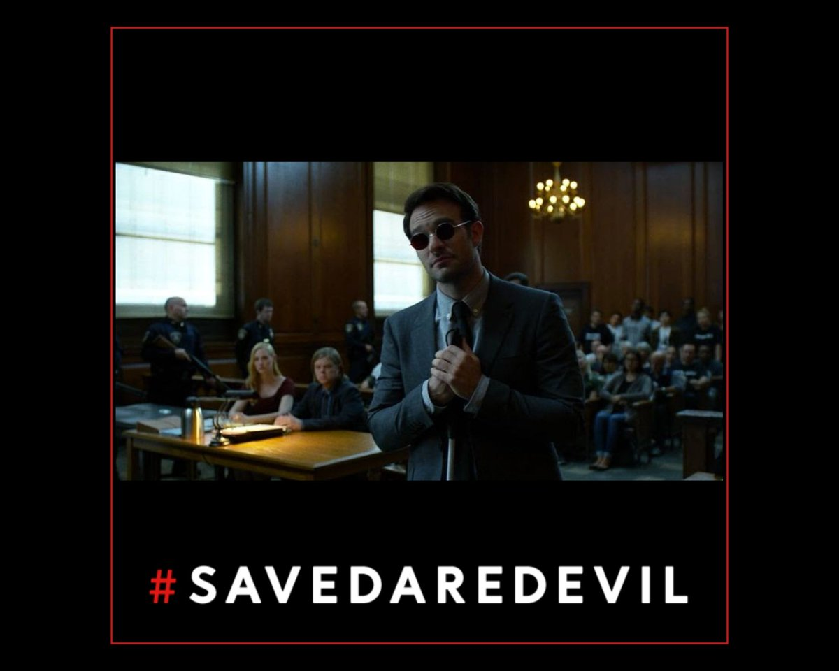 """Dear @hulu @Disney @Marvel @Kevfeige   """"We need...heroes.""""  Yes, we do.  And if you #SaveDaredevil you will #BeTheHero to this fandom.  Please revive this show with the same cast, crew, creative team and TV-MA rating.  Thank you very much for your assistance in this matter."""