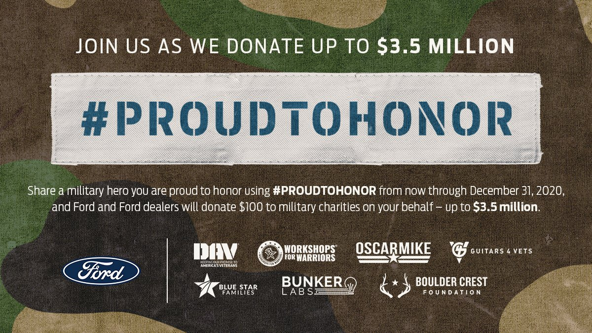 Join @Ford in giving back to those who defend our freedom.  RT using #ProudToHonor and tell us about a military hero you're proud of.  For every entry, Ford will donate $100 (up to $3,500,000) to Ford Proud to Honor supported charities (including Bunker Labs.)