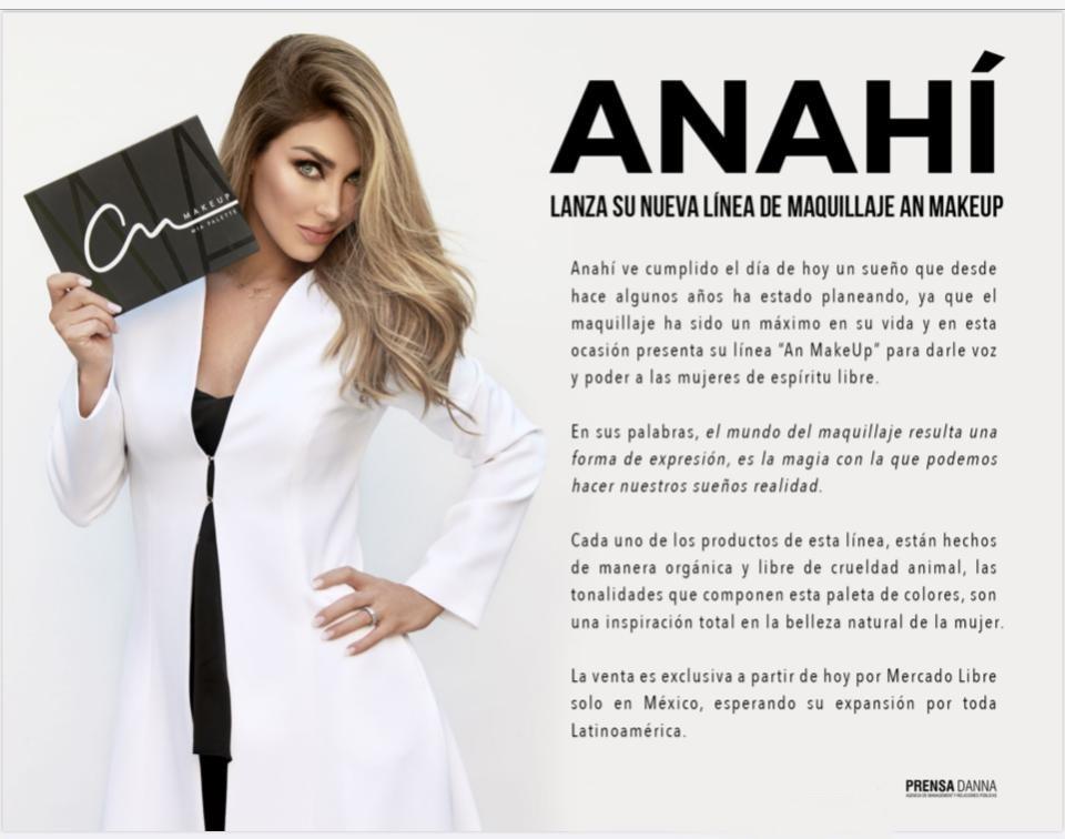 ANAHÍ lanza su nueva línea de maquillaje AN MAKEAUP.  La venta es exclusiva a partir de hoy por mercado libre.  @Anahi @prensa_danna @MichelBogh #MakeUp #Cosmeticos #Belleza #lineaDeMaquillaje #AnMakeup