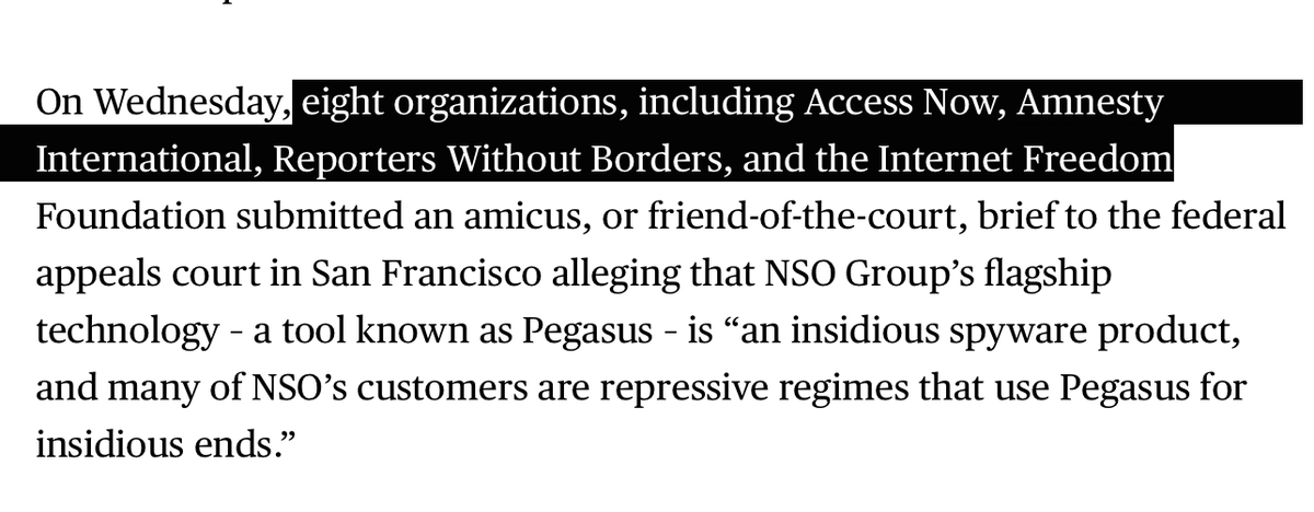 BREAKING: big coalition of rights groups including @accessnow @amnesty @RSF_en & @internetfreedom (among others) to join @WhatsApp v. #NSOGroup case.   (Thread will follow) https://t.co/ZP1iFJdqhc https://t.co/YD010qZpCE