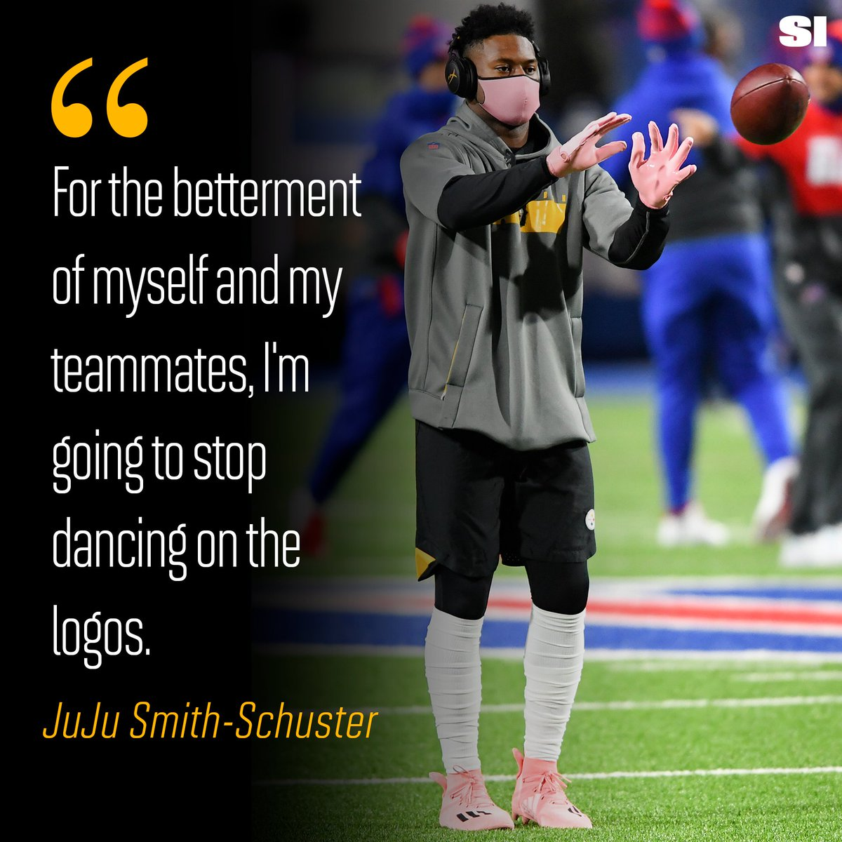 JuJu Smith-Schuster says his pregame routine of dancing on the midfield logo is no more