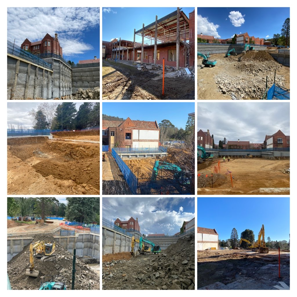 A collage of the progress to date on the Auditorium project at Canberra Grammar School... @CanberraGrammar