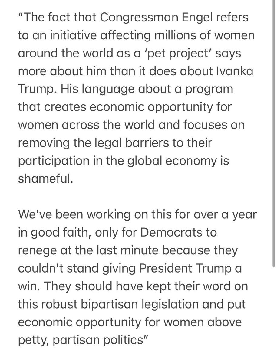 The fact that @RepEliotEngel refers to an initiative affecting millions of women around the world as a 'pet project' says more about him than it does about @IvankaTrump. His language is shameful!  My full statement ⬇️