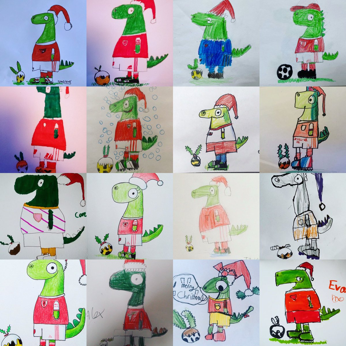 Here are a few Gunnersauruses from today's bonus episode of #DrawWithRob. The final festive episode (who could we POSSIBLY be drawing on Christmas Eve???) drops tomorrow at 10am... 🎄🎄🎄  @Arsenal @JuniorGunners