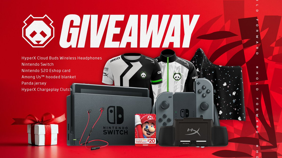 We have one more holiday giveaway for you, and it's a big one! 🎁  Included is a Nintendo Switch, a Panda Pro Jersey, a $20 Nintendo Eshop card, an Among Us hoodie blanket, and a ChargePlay Clutch + a pair of Cloud Buds courtesy of @HyperX!  To enter: -Like -Retweet -Tag a friend