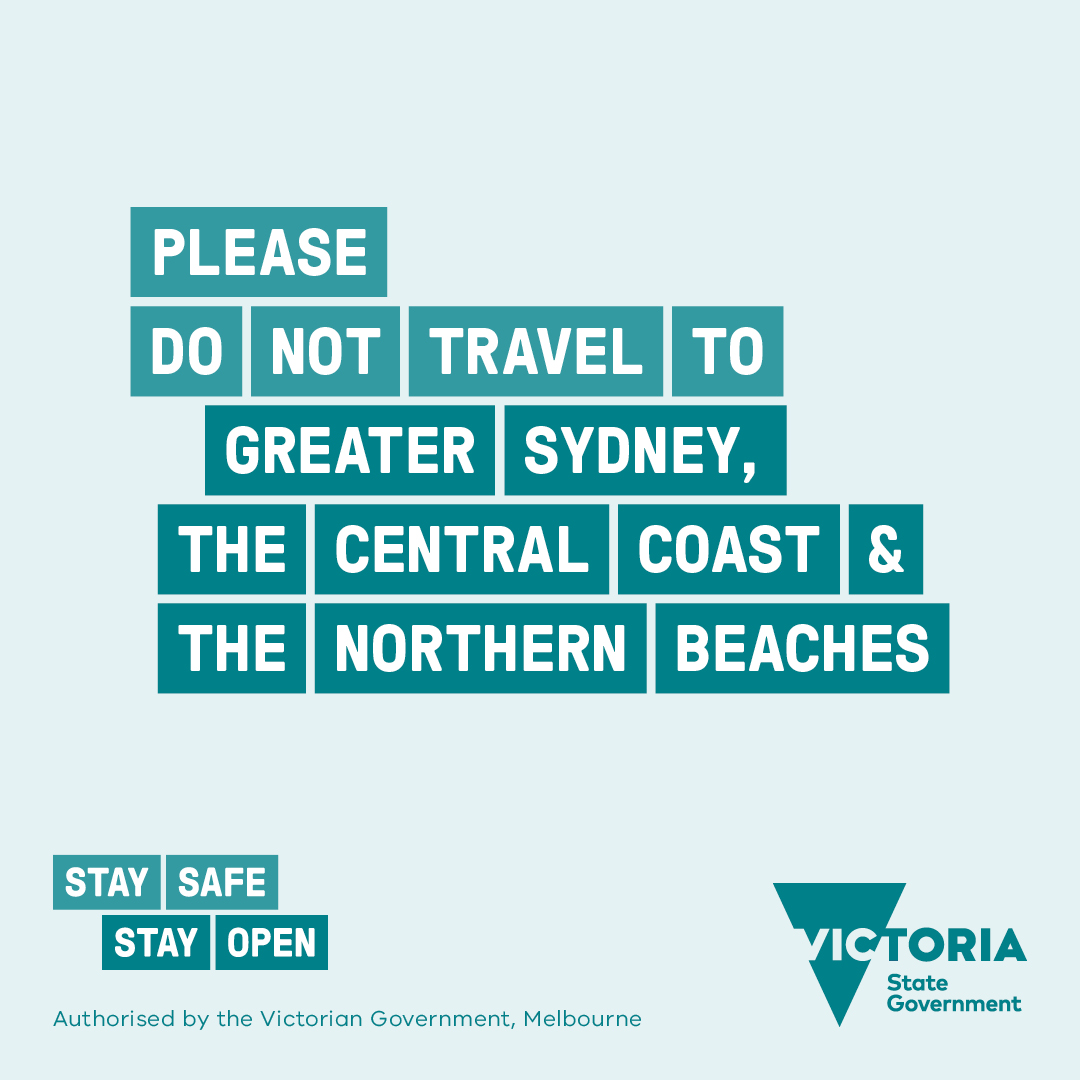 The COVID-19 outbreak in NSW has not been contained.   If you travel to Greater Sydney, the Central Coast or the Northern Beaches, you will not be able to re-enter Victoria.  For more information visit https://t.co/6xlowU2mzu https://t.co/WlET1YizUf