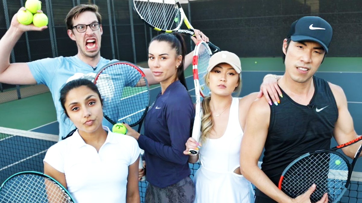 Who do you think has the best tennis shriek? Find out on today's episode of Try Guys & Friends try tennis! 🎾