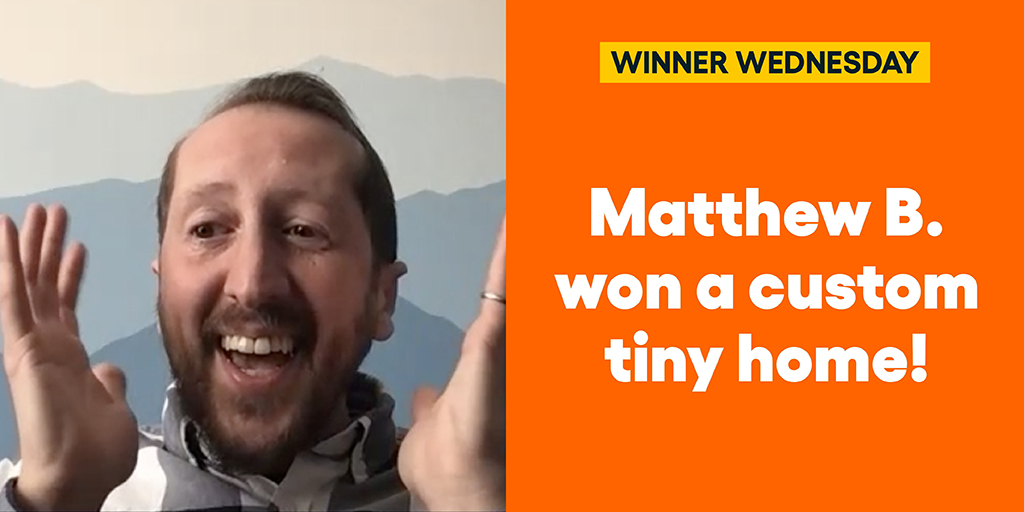 Matthew B. won a custom tiny home… And helped those experiencing homelessness!  #omaze #omazewinners