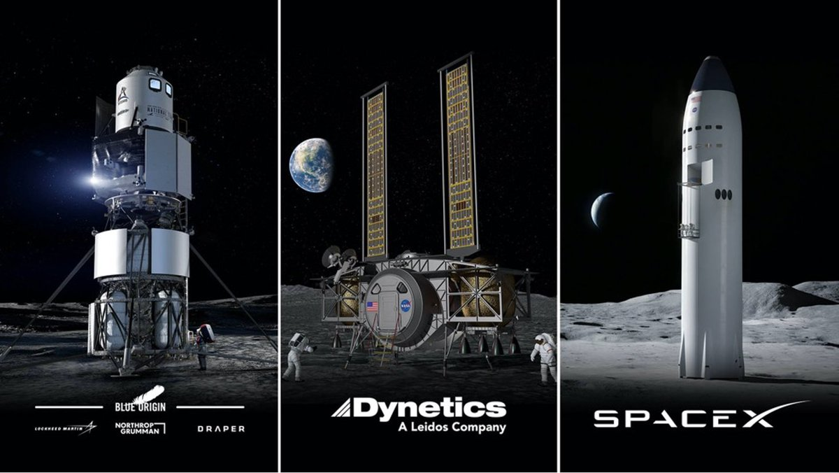 When our #Artemis astronauts journey to the Moon, they'll touch down in @NASA's Human Landing System.   We're working with commercial partners across the country to design and build our landers: