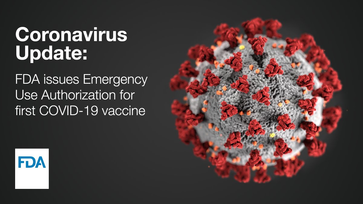 Today, FDA issued the first emergency use authorization (EUA) for a vaccine for the prevention of #COVID19 caused by SARS-CoV-2 in individuals 16 years of age and older. The emergency use authorization allows the vaccine to be distributed in the U.S.