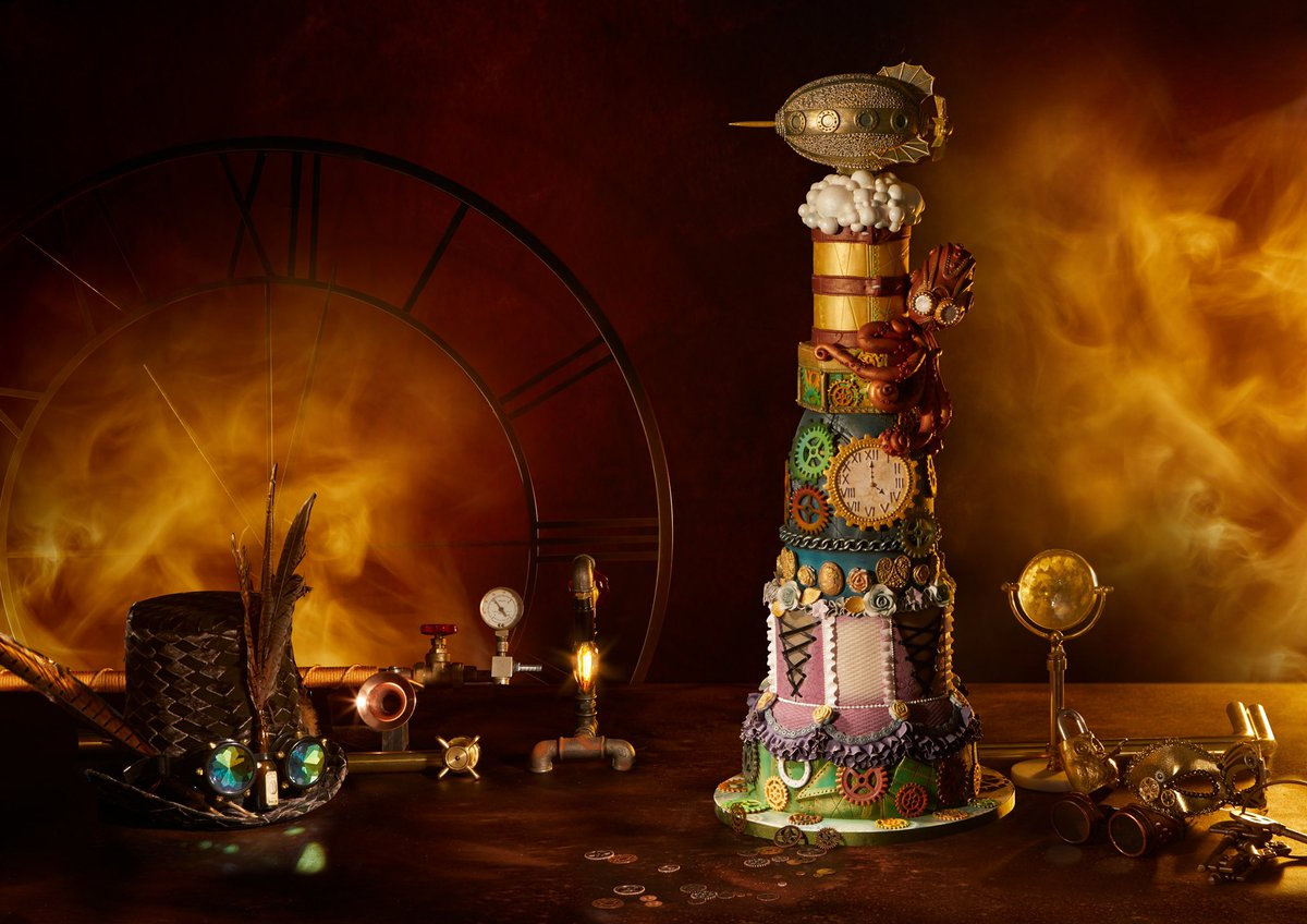 #Cake 🍰 Awesome of the Day ⭐ ➡️ Colorful #Steampunk ⚙️ Pièce Montée #Birthdaycake 🎂 by Lindy Lou Cake via @FitzpatrickDsgn #SamaCake 🎂 ➡️ View More #SamaCollection 👉 https://t.co/Kugls3IJqU