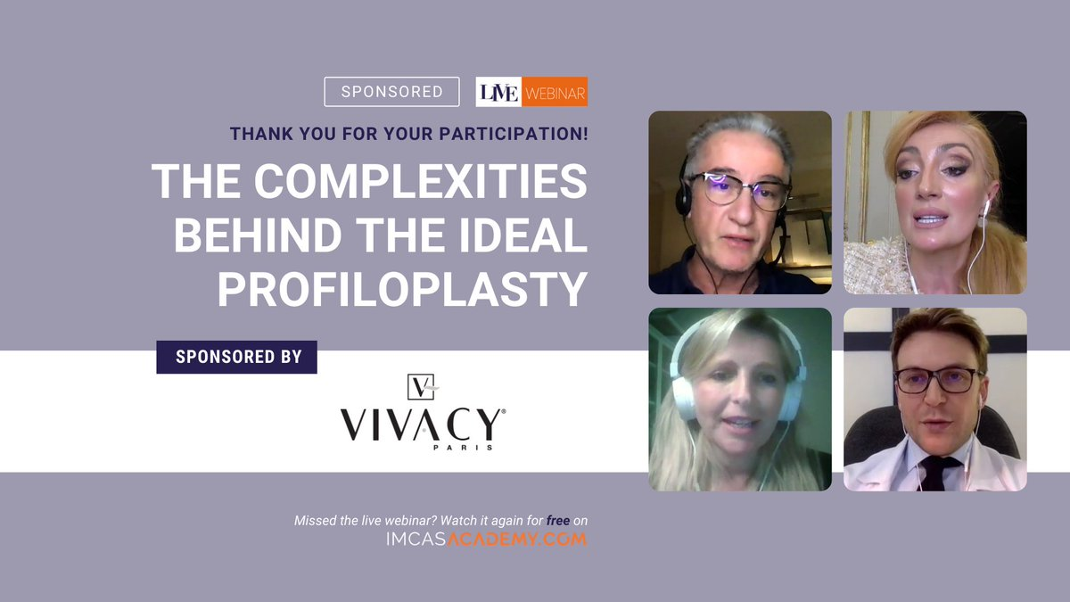 "- REPLAY THE WEBINAR - Sponsored by @Lab_Vivacy   Thank you to the 500+ LIVE viewers who joined us for the webinar on ""The complexities behind the ideal profiloplasty"" sponsored by Laboratoires Vivacy. The replay is now available for free 👉 https://t.co/zsBJVhEVdc https://t.co/nTV3YRIDvw"