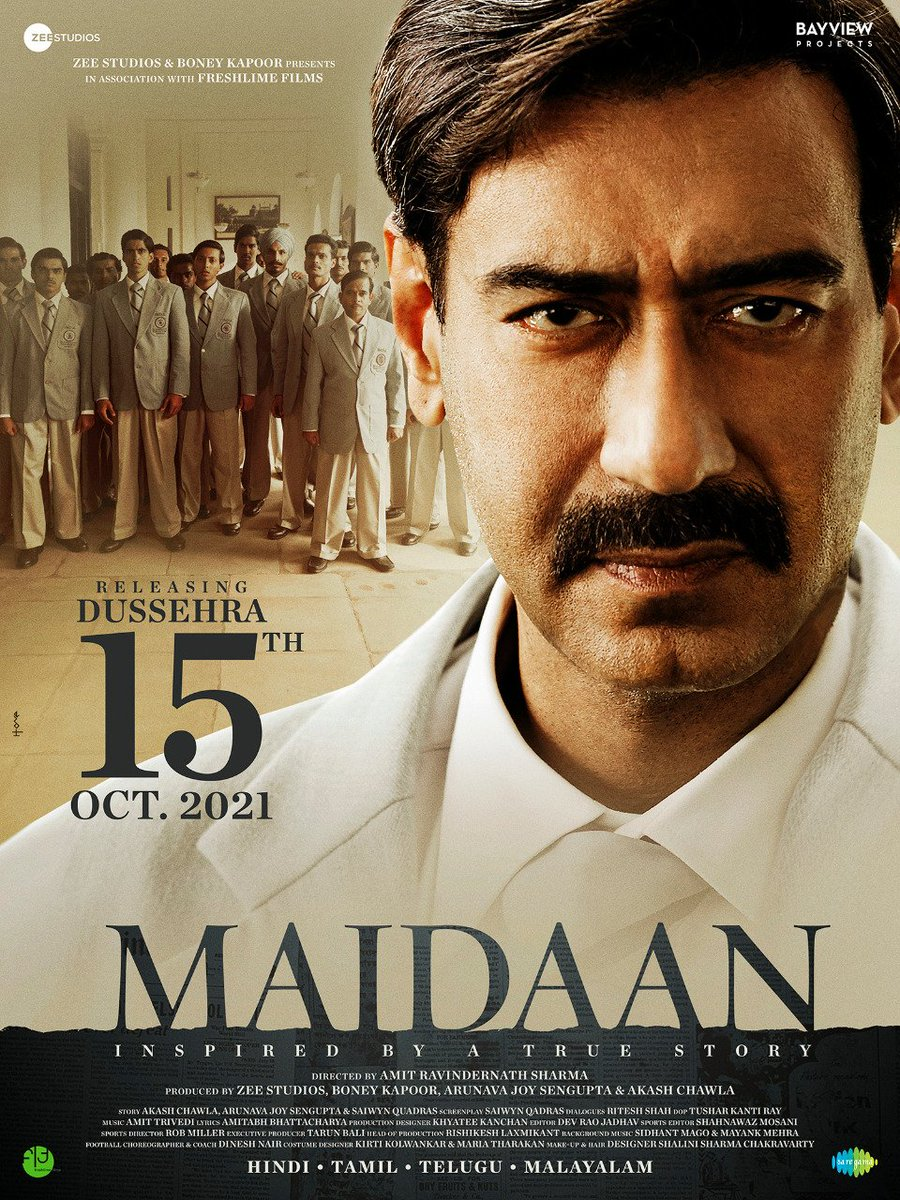 #MAIDAAN NEW RELEASE DATE: #DUSSEHRA 2021... #Maidaan - starring #AjayDevgn - gets a new release date: 15 Oct 2021... Primary shooting is 65% complete... Last schedule in April 2021... #VFX in progress across #London, #Canada and #LA... Directed by Amit Ravindernath Sharma.