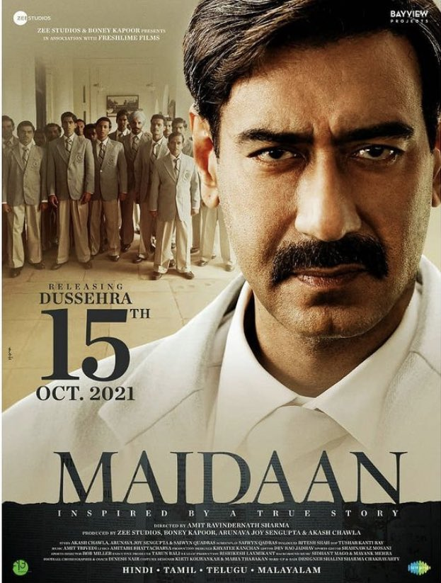 15th October 2021 release.. Will be releasing in HINDI / TAMIL / TELUGU / MALAYALAM.... All set for a DUSSEHRA RELEASE... Brave yourself for a story which should have been told much earlier... Stars @ajaydevgn in the lead... Make way for #Maidaan... #AjayDevgn