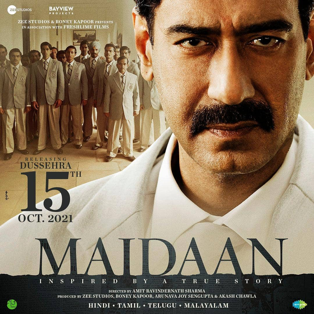 Replying to @filmfare: #AjayDevgn confirms #Maidaan will release on Dussehra 2021. The film will go on floors next month.