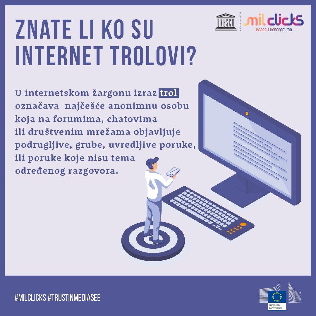 Internetski trolovi najčešće su anonimni, a cilj im je dosađivanje ostalim učesnicima rasprave, pokretanje svađe, odnosno remećenje toka rasprave. ℹ Više pogledaj na:  #milclicks #trustinmediasee #milclicksbih