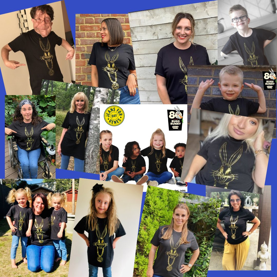 How fab is this years #BugsBunny #JeansforGenes T-Shirt? You can still buy yours and at a bargain price!  #WarnerBrothers #Bugsis80 #GeneticCondition @Adam_Pearson @samrenke @ColeenRoo @MrsAnneTwist @BrittEkland @cheryleehouston