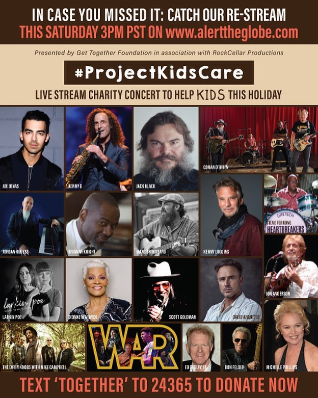 TODAY!  Dec. 12th starting at 3:00 pm PST at   A re-stream of our popular Project Kids-Care Concert/Telethon!  And even if you can't watch, we could still use your help! Text the word TOGETHER to 24365.