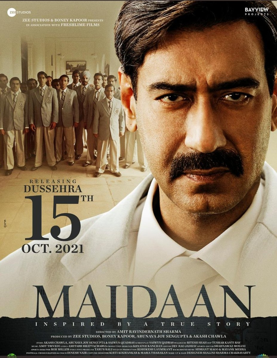 #Maidaan is released on Dussehra 2021  @being_sohaan @cosmosNDfries #Maidaan2021 #Maidaan #AjayDevgn @ajaydevgn  See this poster    ⬇️⬇️⬇️
