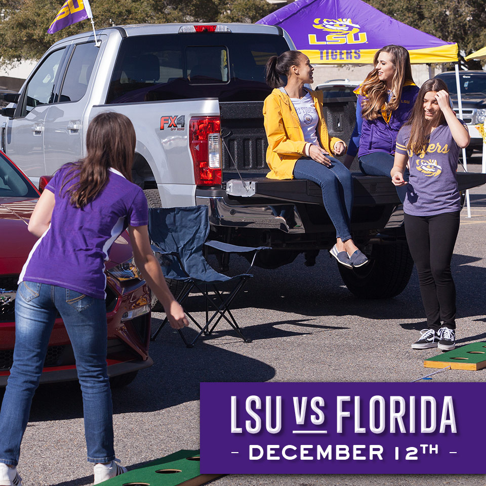 PRO TIP: Away games have always been the perfect excuse for an at-home tailgate. Turn the bed of your Ford vehicle into a prime seating spot for LSU vs. Florida! Share your Ford tailgate pictures in the comments below for a chance to be featured on our page. https://t.co/P0a6zrOU25