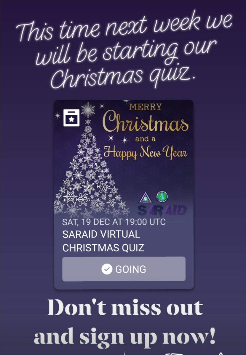 Our Christmas quiz is on Saturday 7pm. Still time to sign up!!!!!   See link in the post below.  #Christmas #searchandrescue #fundraising #volunteer