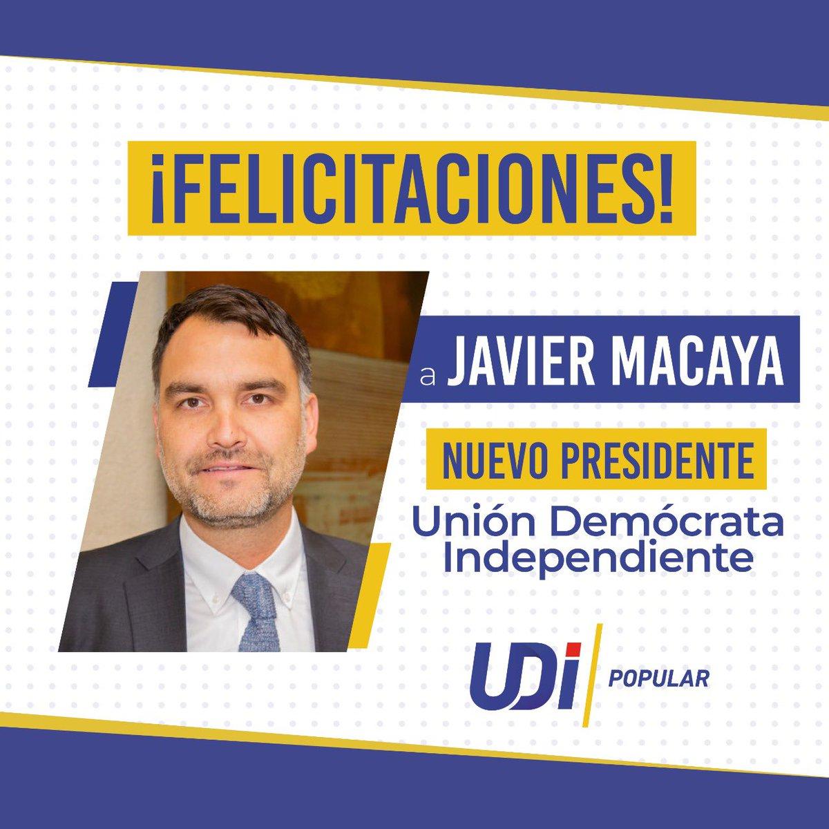 [Resultados Oficiales Elecciones Internas UDI 2020] 🗳  Felicitamos a nuestro nuevo Presidente @javiermacaya y a su directiva.👏🏻  Felicitamos también a Víctor Pérez por una impecable campaña y  nuestros militantes por el gran compromiso con el partido. 👏🏻👏🏻👏🏻