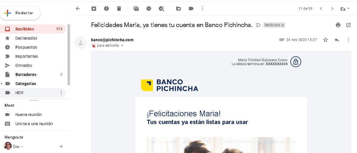 @BancoPichincha Hola, me ha llegado un mail con los datos de una persona que no soy yo, tengo el contrato con Uds con los datos de la persona, su número de cuenta en dólares y soles , su mail, su dirección, su celular y 03 doc adjuntos   #InseguridadBancaria https://t.co/mC7Z1quG9v