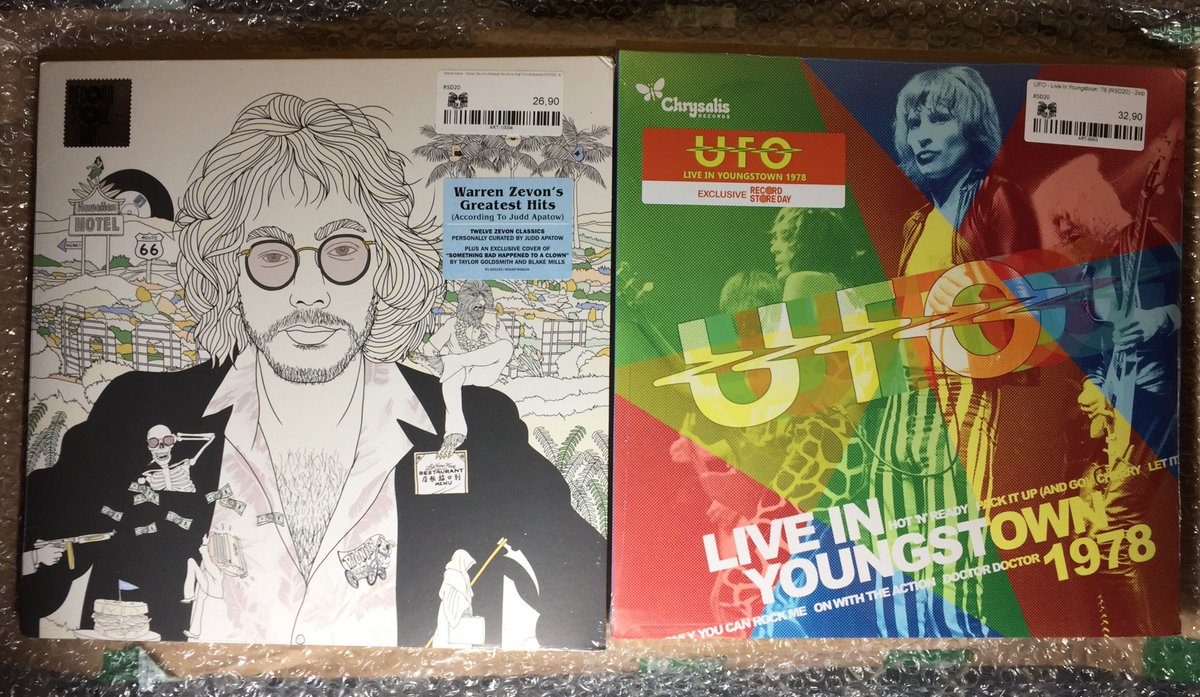 They took a month and a half to arrive from Germany but I finally got the last of my #RSD20 #vinyl purchases ⁦@recordstoreday⁩ #WarrenZevon #UFO