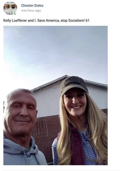 ALERT: Kelly Loeffler just posed for a photo with Chester Doles, a former KKK leader who runs the white supremacist American Patriots USA.  In 1993, Doles nearly beat a Black man to death.  In 2017, he marched in Charlottesville.  This is who @KLoeffler is proudly appealing to.